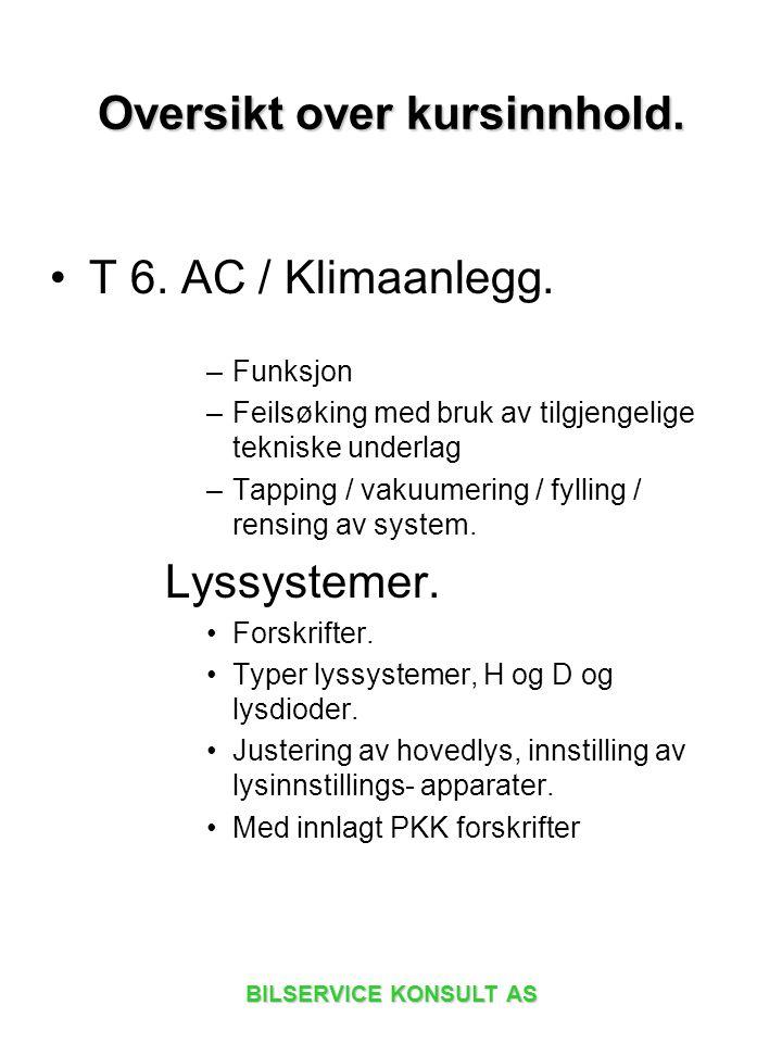 BILSERVICE KONSULT AS T 6. AC / Klimaanlegg. –Funksjon –Feilsøking med bruk av tilgjengelige tekniske underlag –Tapping / vakuumering / fylling / rens