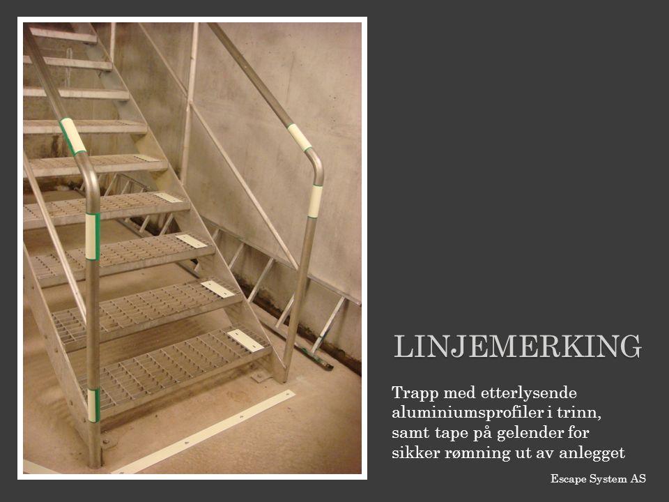 Trapp med etterlysende aluminiumsprofiler i trinn, samt tape på gelender for sikker rømning ut av anlegget LINJEMERKING Escape System AS