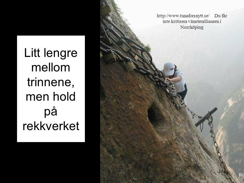 Litt lengre mellom trinnene, men hold på rekkverket 2014-07-2026 http://www.tunaforsnytt.se/ Du får inte kritisera vänsteralliansen i Norrköping