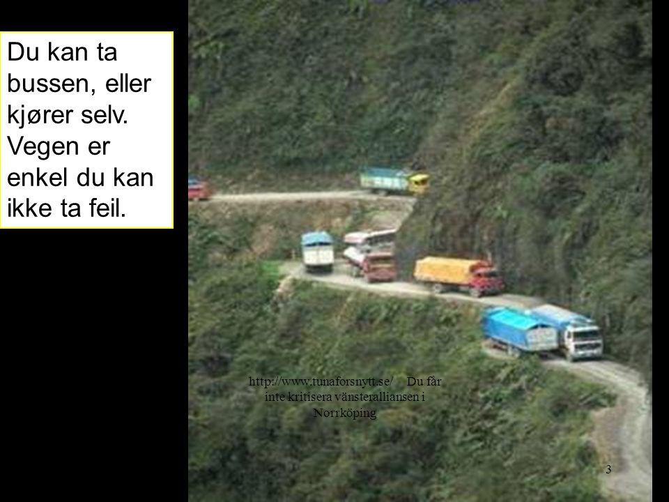 Du kan ta bussen, eller kjører selv.Vegen er enkel du kan ikke ta feil.
