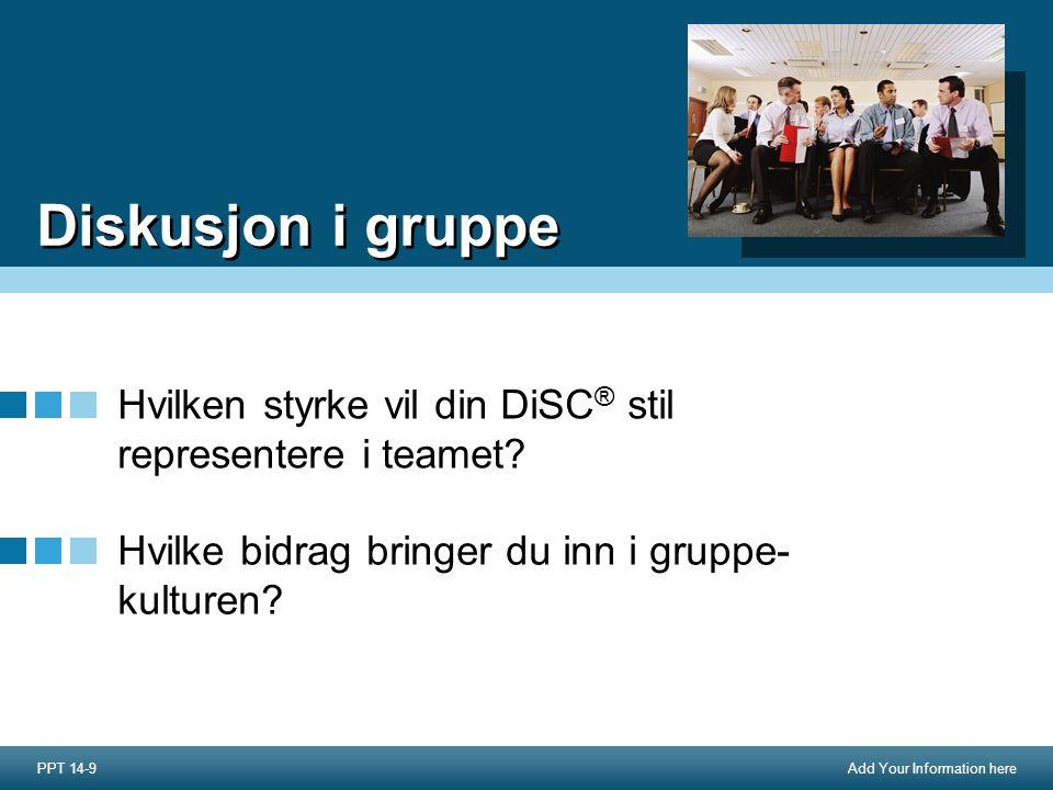 Add Your Information here Diskusjon i gruppe Hvilken styrke vil din DiSC ® stil representere i teamet.