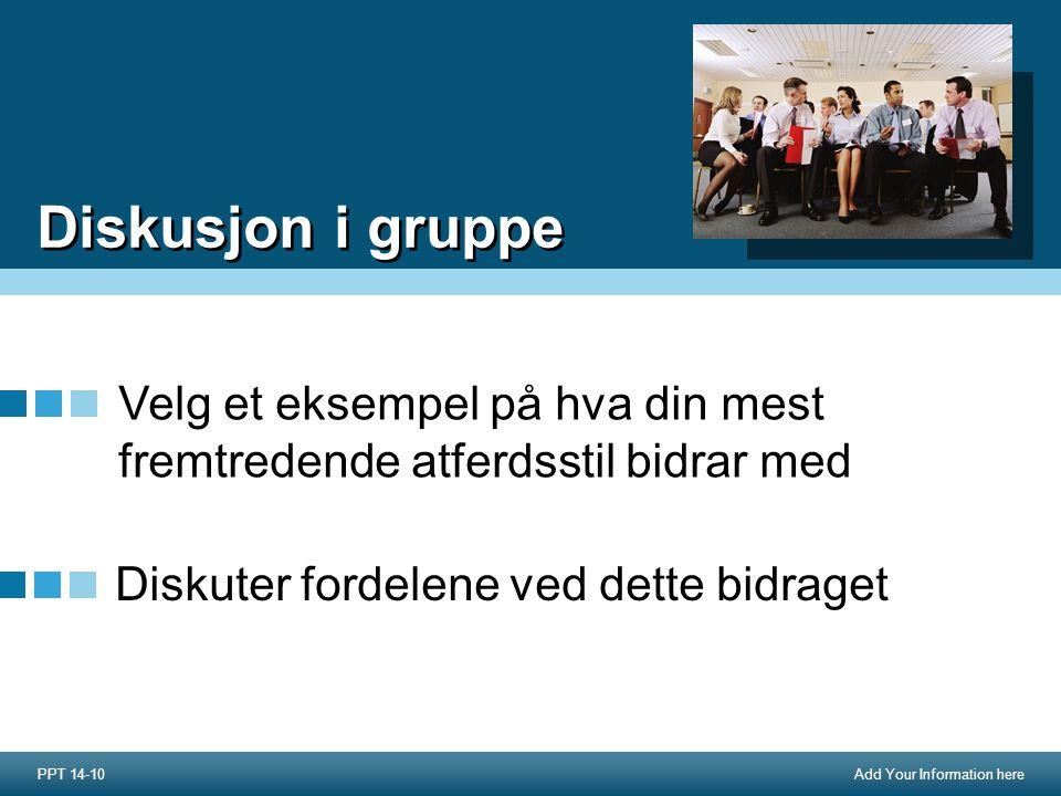 Add Your Information here Diskusjon i gruppe Velg et eksempel på hva din mest fremtredende atferdsstil bidrar med PPT 14-10 Diskuter fordelene ved dette bidraget