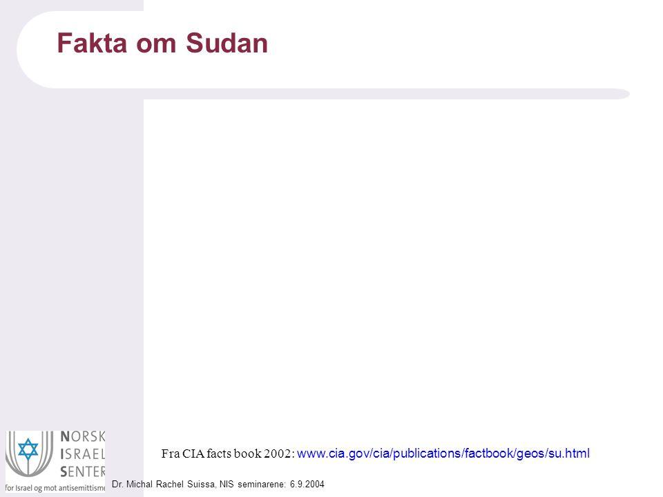 Dr. Michal Rachel Suissa, NIS seminarene: 6.9.2004 Fakta om Sudan Fra CIA facts book 2002: www.cia.gov/cia/publications/factbook/geos/su.html