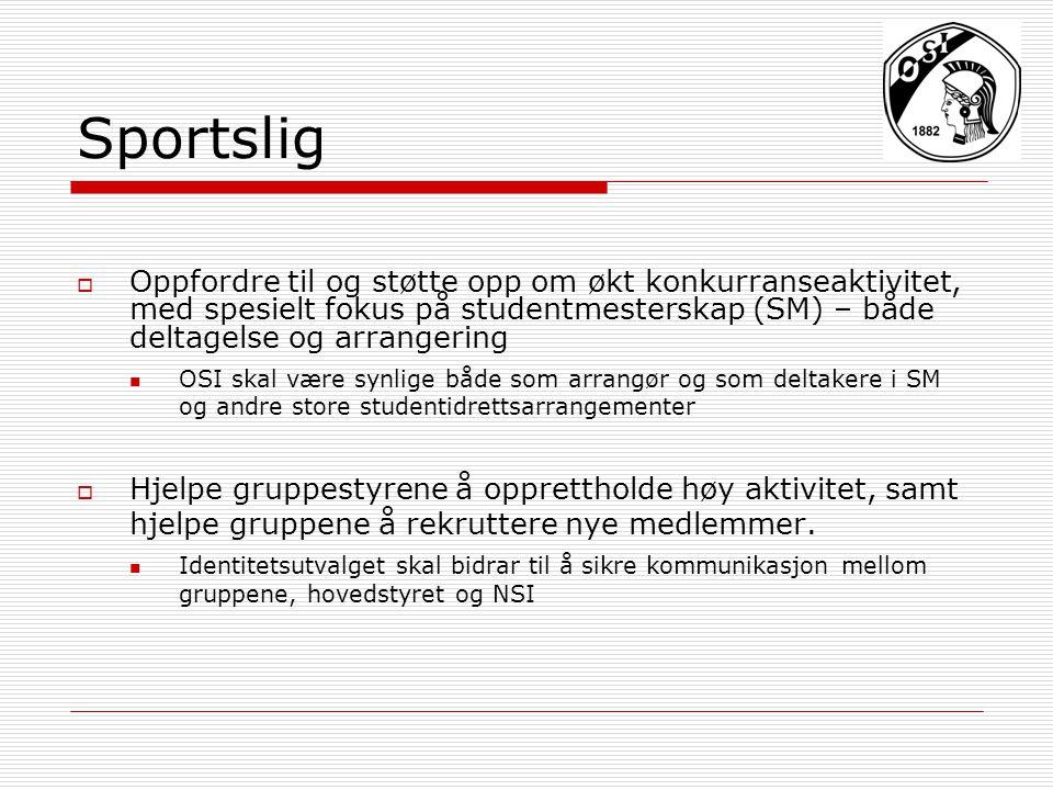 Sportslig  Oppfordre til og støtte opp om økt konkurranseaktivitet, med spesielt fokus på studentmesterskap (SM) – både deltagelse og arrangering OSI