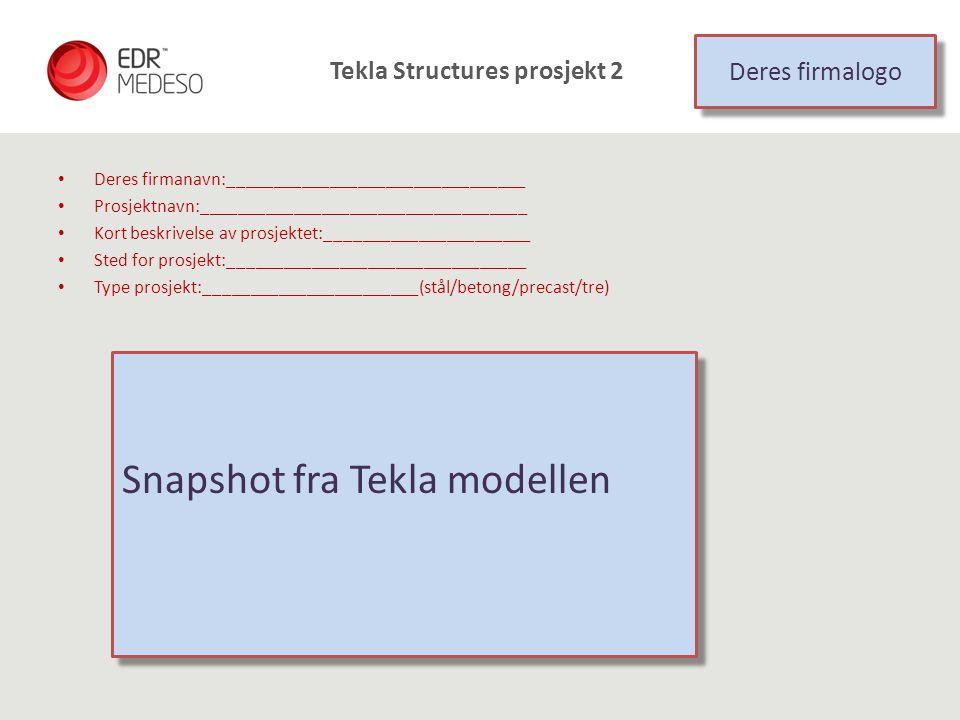 Tekla Structures prosjekt 2 Deres firmanavn:________________________________ Prosjektnavn:___________________________________ Kort beskrivelse av pros