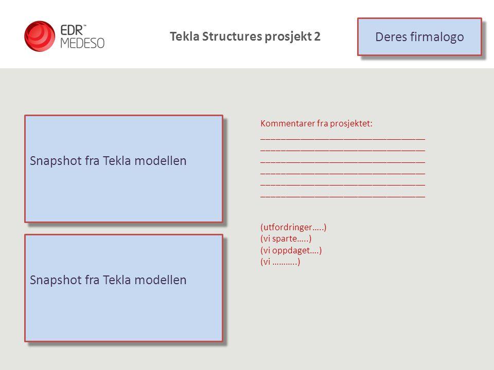 Snapshot fra Tekla modellen Kommentarer fra prosjektet: __________________________________ (utfordringer…..) (vi sparte…..) (vi oppdaget….) (vi ………..)