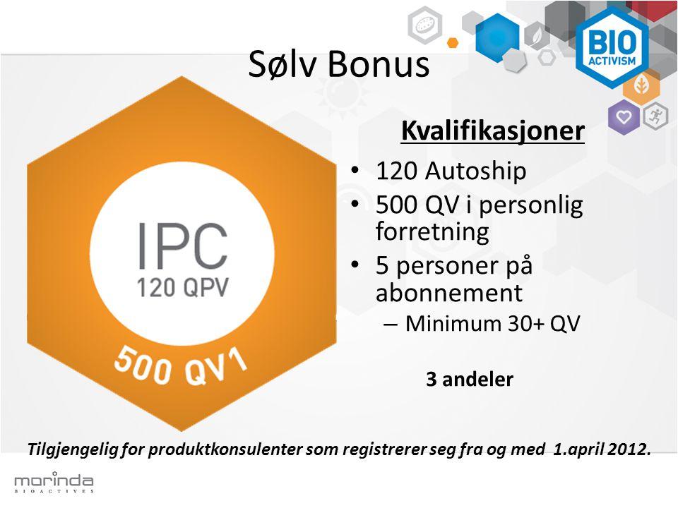 Sølv Bonus Kvalifikasjoner 120 Autoship 500 QV i personlig forretning 5 personer på abonnement – Minimum 30+ QV Tilgjengelig for produktkonsulenter som registrerer seg fra og med 1.april 2012.