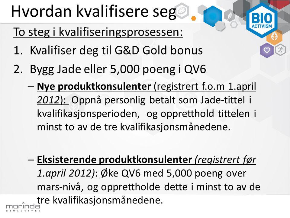 Hvordan kvalifisere seg To steg i kvalifiseringsprosessen: 1.Kvalifiser deg til G&D Gold bonus 2.Bygg Jade eller 5,000 poeng i QV6 – Nye produktkonsulenter (registrert f.o.m 1.april 2012): Oppnå personlig betalt som Jade-tittel i kvalifikasjonsperioden, og oppretthold tittelen i minst to av de tre kvalifikasjonsmånedene.