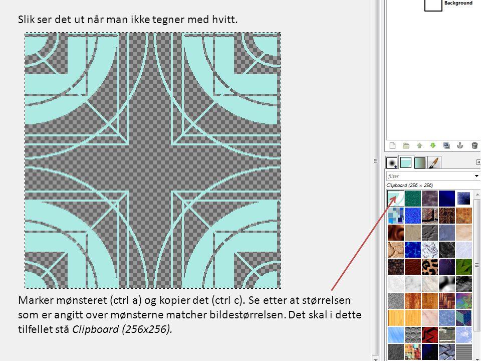 Marker mønsteret (ctrl a) og kopier det (ctrl c). Se etter at størrelsen som er angitt over mønsterne matcher bildestørrelsen. Det skal i dette tilfel