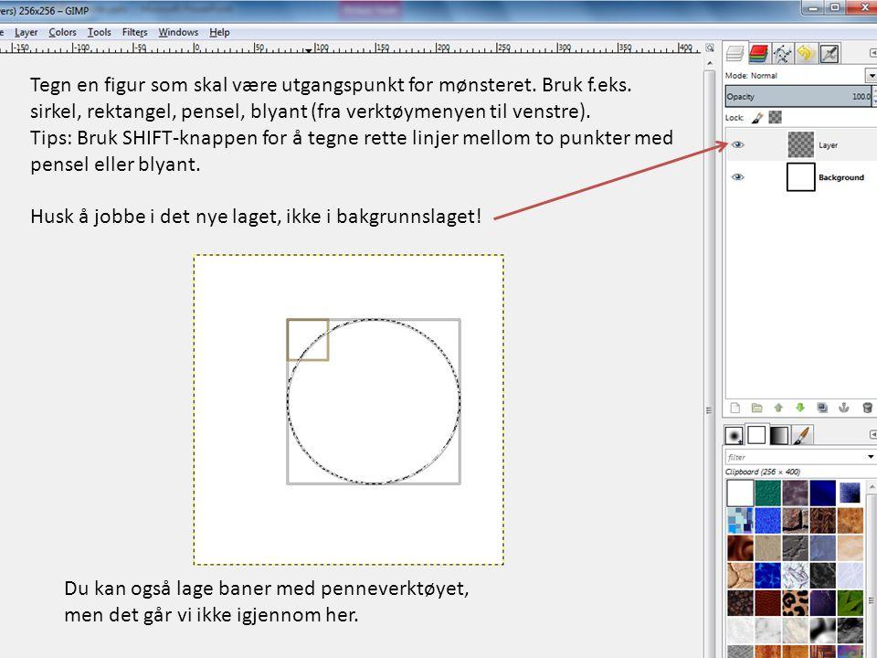 Tegn en figur som skal være utgangspunkt for mønsteret. Bruk f.eks. sirkel, rektangel, pensel, blyant (fra verktøymenyen til venstre). Tips: Bruk SHIF