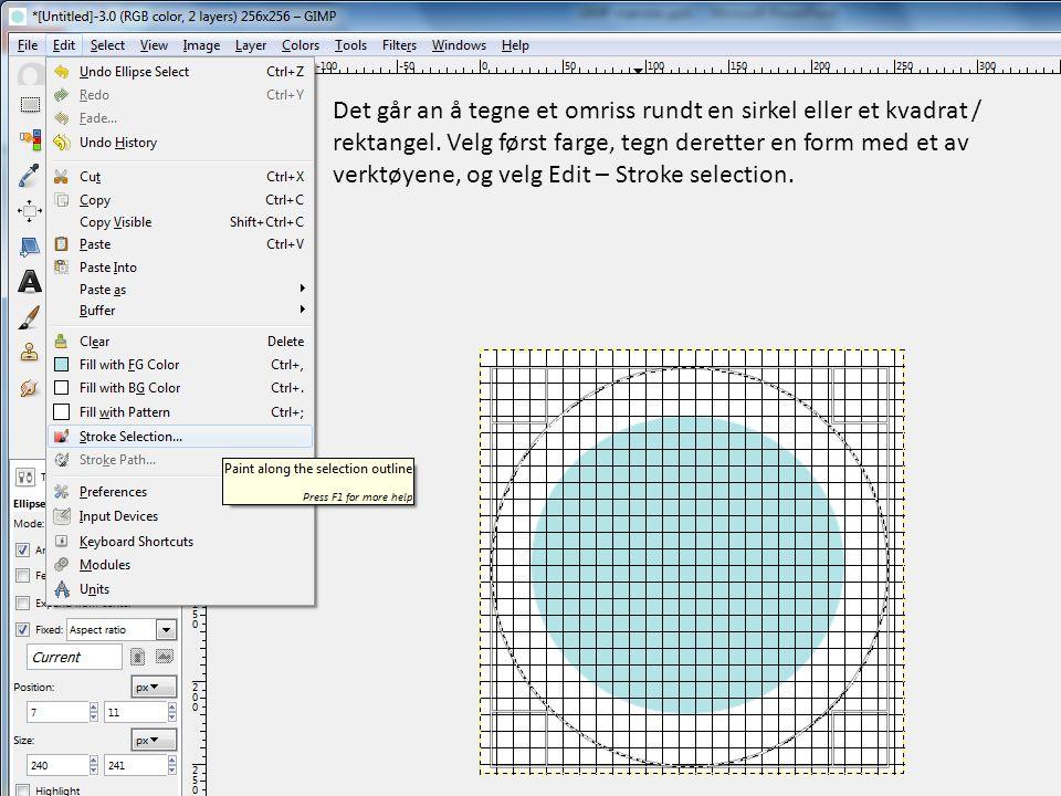 Det går an å tegne et omriss rundt en sirkel eller et kvadrat / rektangel. Velg først farge, tegn deretter en form med et av verktøyene, og velg Edit