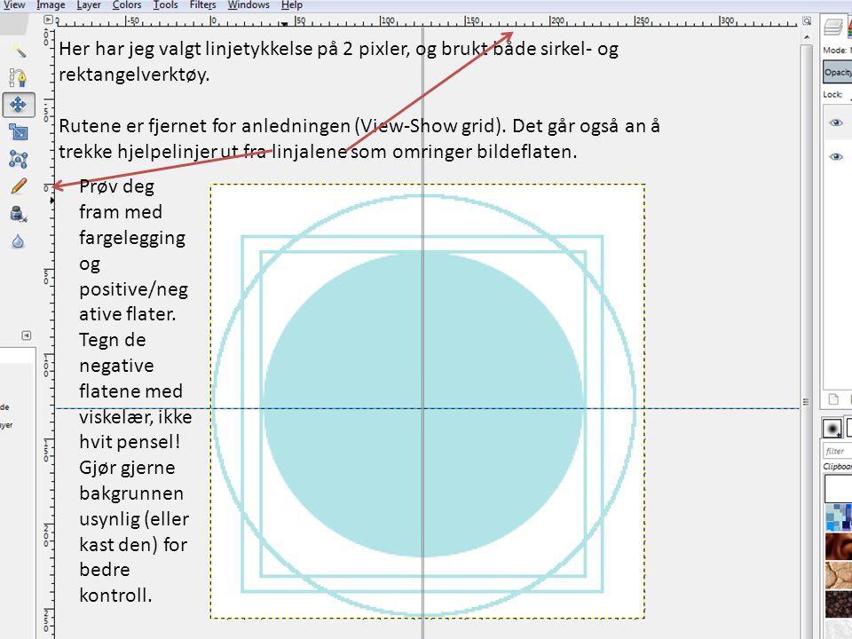 Her har jeg valgt linjetykkelse på 2 pixler, og brukt både sirkel- og rektangelverktøy. Rutene er fjernet for anledningen (View-Show grid). Det går og
