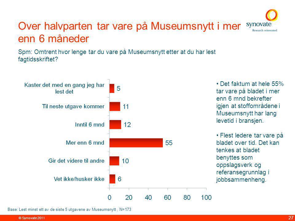 © Synovate 2011 27 Over halvparten tar vare på Museumsnytt i mer enn 6 måneder Spm: Omtrent hvor lenge tar du vare på Museumsnytt etter at du har lest fagtidsskriftet.