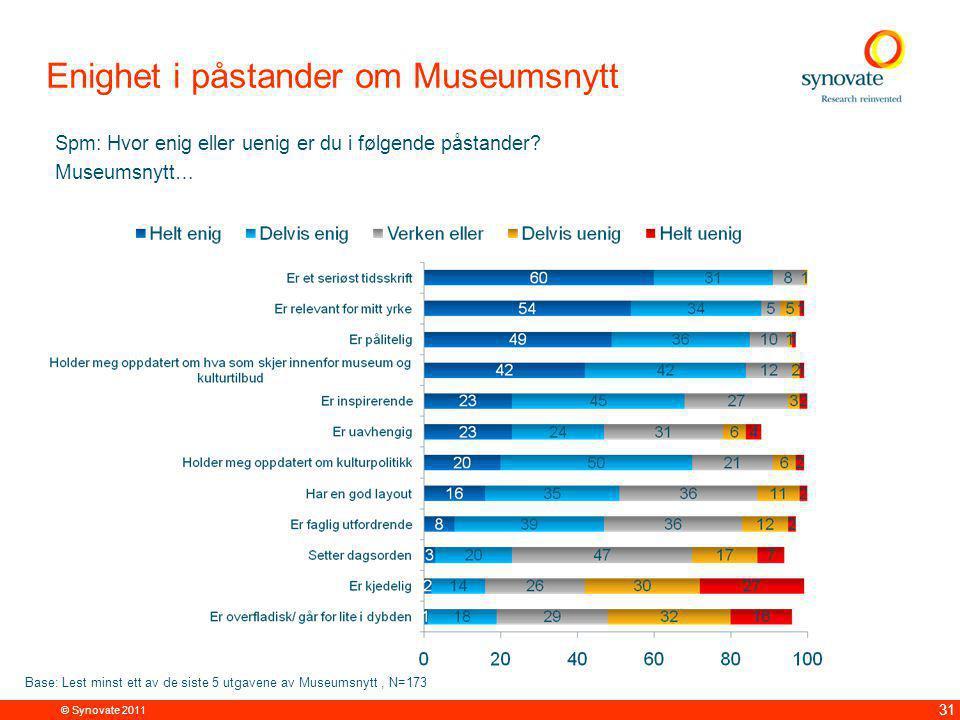 © Synovate 2011 31 Enighet i påstander om Museumsnytt Spm: Hvor enig eller uenig er du i følgende påstander.