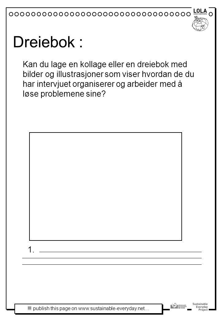 Dreiebok : Kan du lage en kollage eller en dreiebok med bilder og illustrasjoner som viser hvordan de du har intervjuet organiserer og arbeider med å løse problemene sine.