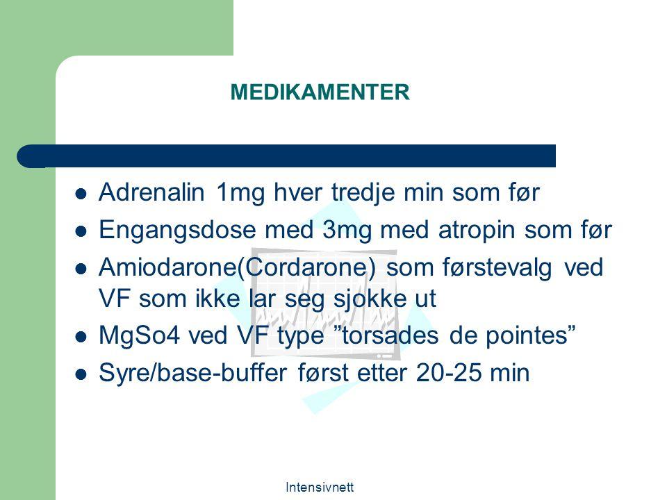 Intensivnett MEDIKAMENTER Adrenalin 1mg hver tredje min som før Engangsdose med 3mg med atropin som før Amiodarone(Cordarone) som førstevalg ved VF so
