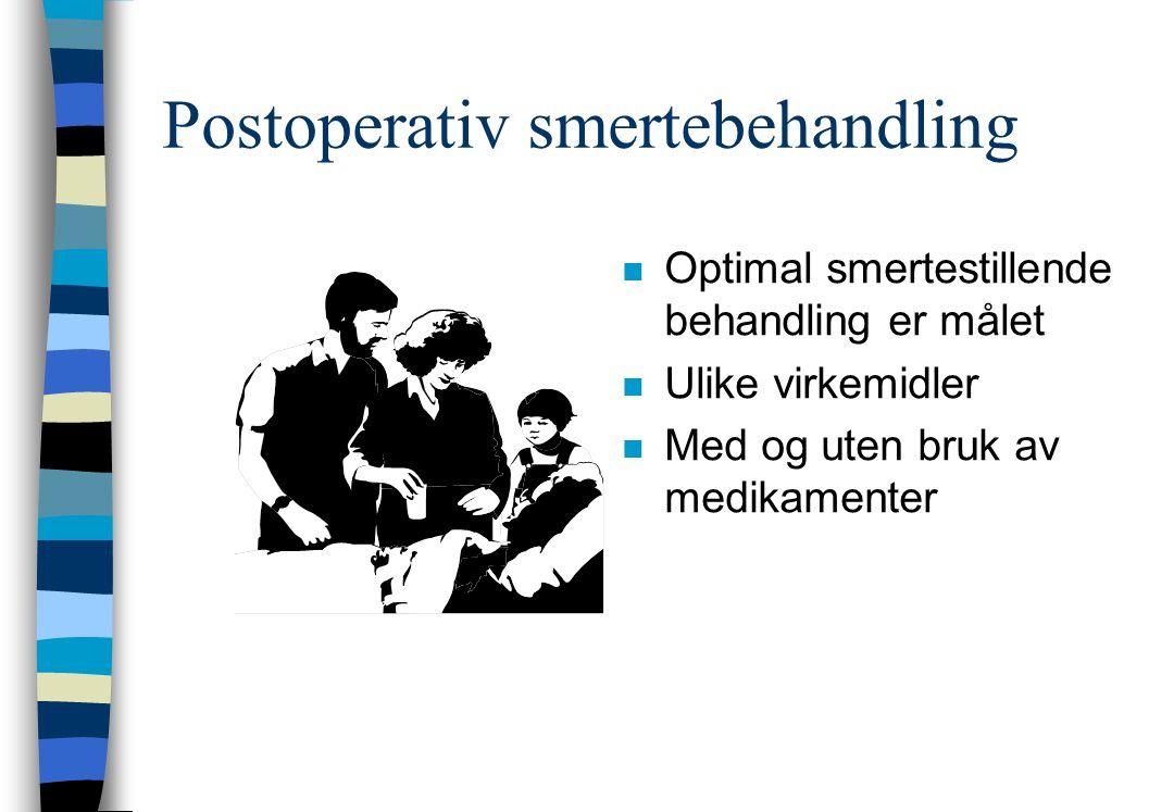Postoperativ smertebehandling n Optimal smertestillende behandling er målet n Ulike virkemidler n Med og uten bruk av medikamenter