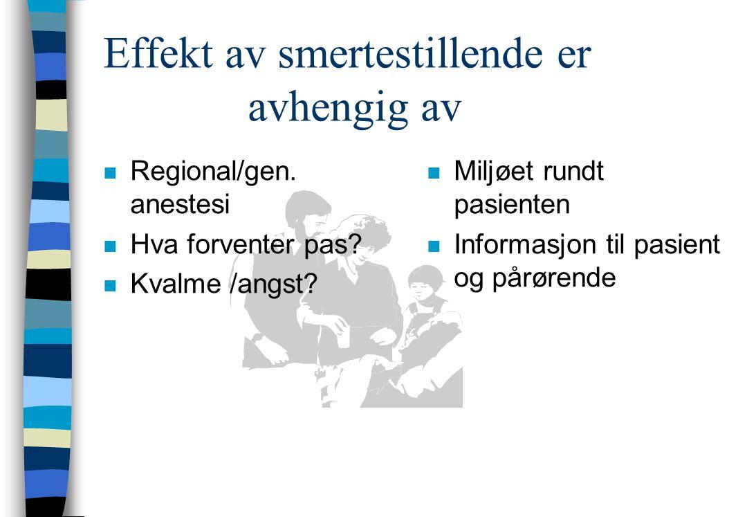 Effekt av smertestillende er avhengig av nRnRegional/gen.