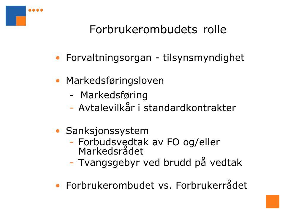 Forbrukerombudets rolle Forvaltningsorgan - tilsynsmyndighet Markedsføringsloven - Markedsføring -Avtalevilkår i standardkontrakter Sanksjonssystem -Forbudsvedtak av FO og/eller Markedsrådet -Tvangsgebyr ved brudd på vedtak Forbrukerombudet vs.