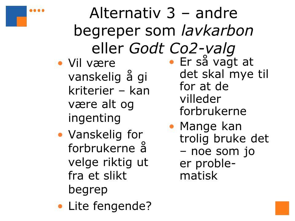 Alternativ 3 – andre begreper som lavkarbon eller Godt Co2-valg Vil være vanskelig å gi kriterier – kan være alt og ingenting Vanskelig for forbrukerne å velge riktig ut fra et slikt begrep Lite fengende.