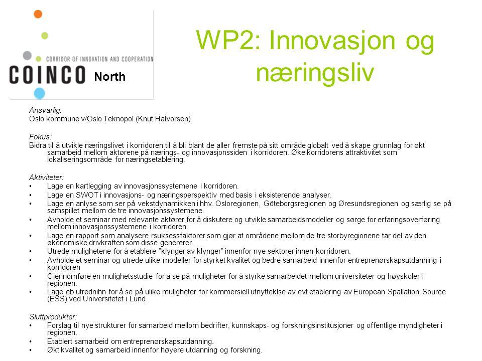 WP2: Innovasjon og næringsliv Ansvarlig: Oslo kommune v/Oslo Teknopol (Knut Halvorsen) Fokus: Bidra til å utvikle næringslivet i korridoren til å bli blant de aller fremste på sitt område globalt ved å skape grunnlag for økt samarbeid mellom aktørene på nærings- og innovasjonssiden i korridoren.