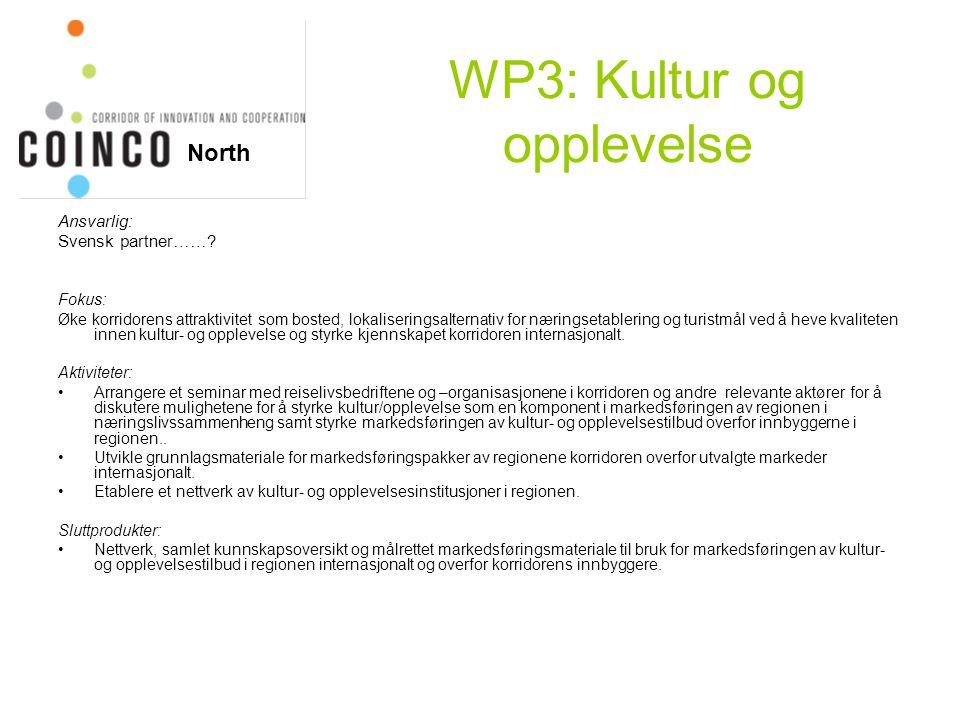 WP3: Kultur og opplevelse Ansvarlig: Svensk partner……? Fokus: Øke korridorens attraktivitet som bosted, lokaliseringsalternativ for næringsetablering