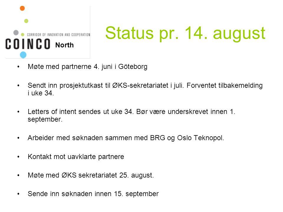 Status pr. 14. august Møte med partnerne 4. juni i Göteborg Sendt inn prosjektutkast til ØKS-sekretariatet i juli. Forventet tilbakemelding i uke 34.