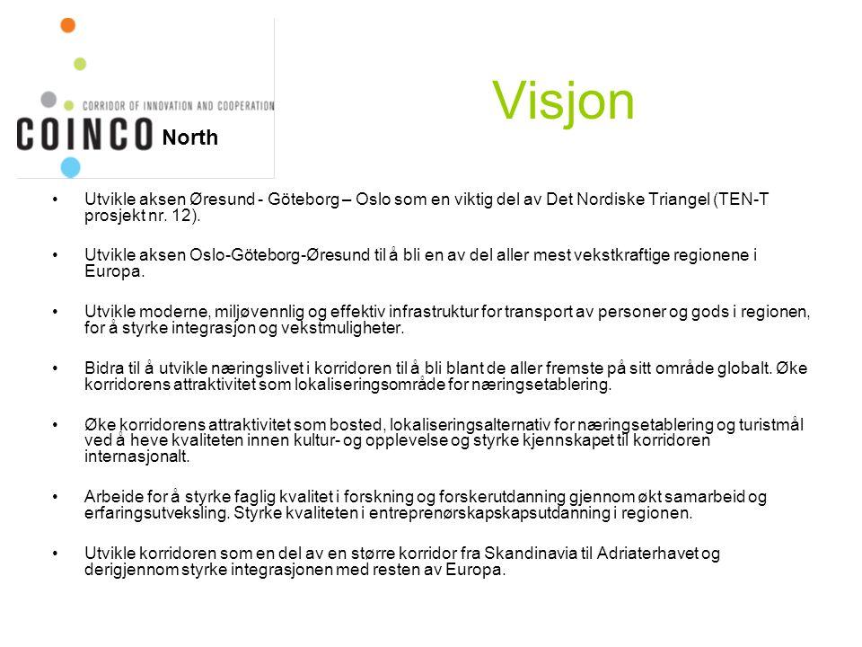 Visjon Utvikle aksen Øresund - Göteborg – Oslo som en viktig del av Det Nordiske Triangel (TEN-T prosjekt nr. 12). Utvikle aksen Oslo-Göteborg-Øresund