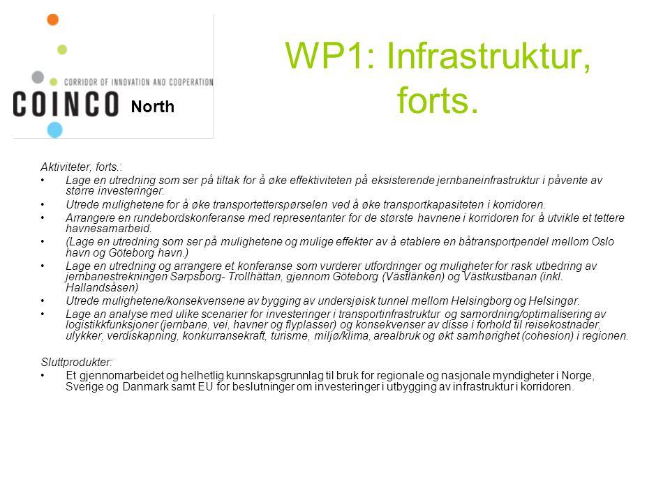 WP1: Infrastruktur, forts. Aktiviteter, forts.: Lage en utredning som ser på tiltak for å øke effektiviteten på eksisterende jernbaneinfrastruktur i p