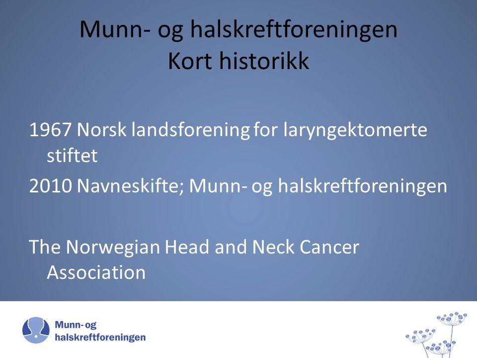Munn- og halskreftforeningen Kort historikk 1967 Norsk landsforening for laryngektomerte stiftet 2010 Navneskifte; Munn- og halskreftforeningen The No