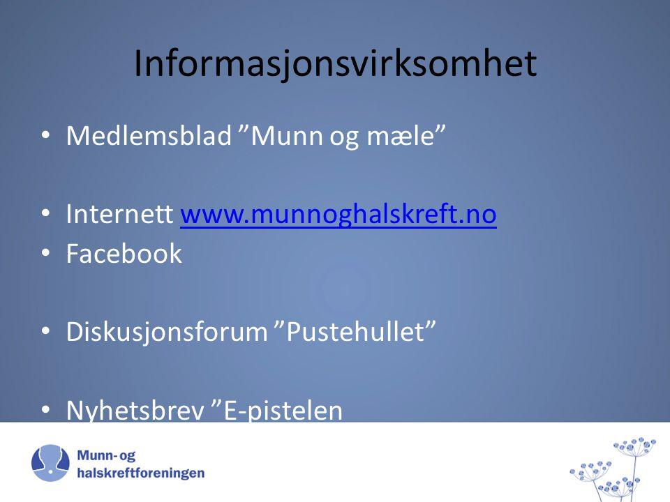 Informasjonsvirksomhet Medlemsblad Munn og mæle Internett www.munnoghalskreft.nowww.munnoghalskreft.no Facebook Diskusjonsforum Pustehullet Nyhetsbrev E-pistelen
