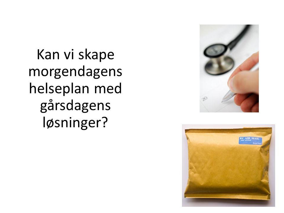 Sentrale utfordringer Helsetjenester koster mye i Norge – 103 milliarder til helse i Norge i 2007 – 9 % av BNP – 43.000 pr innbygger – Doblet kostnad på sykehus på 7 år