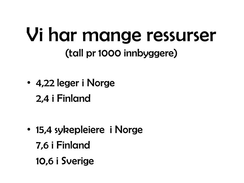 Vi har mange ressurser (tall pr 1000 innbyggere) 4,22 leger i Norge 2,4 i Finland 15,4 sykepleiere i Norge 7,6 i Finland 10,6 i Sverige