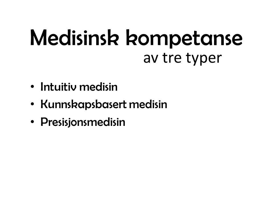 Medisinsk kompetanse Intuitiv medisin Kunnskapsbasert medisin Presisjonsmedisin av tre typer