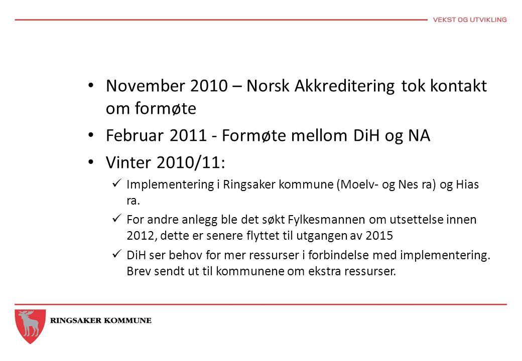 November 2010 – Norsk Akkreditering tok kontakt om formøte Februar 2011 - Formøte mellom DiH og NA Vinter 2010/11: Implementering i Ringsaker kommune (Moelv- og Nes ra) og Hias ra.