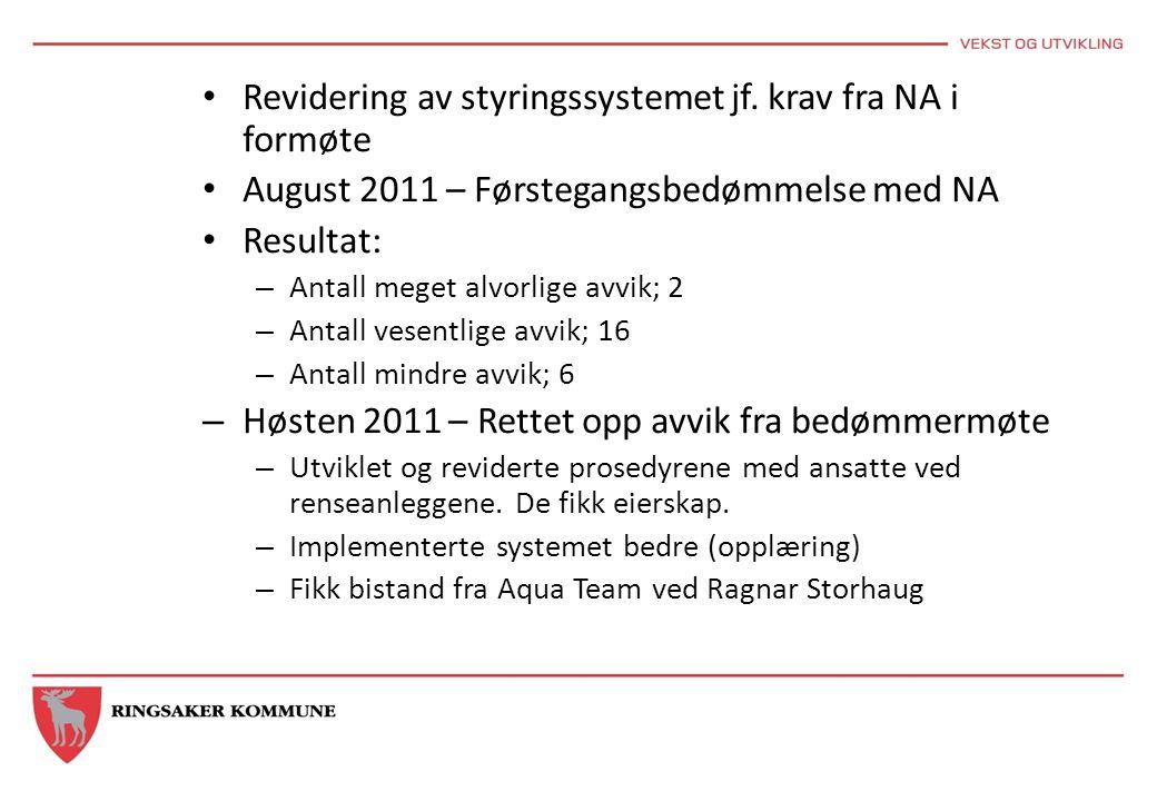 Revidering av styringssystemet jf. krav fra NA i formøte August 2011 – Førstegangsbedømmelse med NA Resultat: – Antall meget alvorlige avvik; 2 – Anta