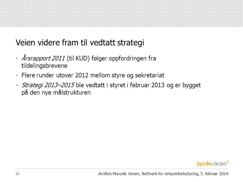  Årsrapport 2011 (til KUD) følger oppfordringen fra tildelingsbrevene  Flere runder utover 2012 mellom styre og sekretariat  Strategi 2013–2015 ble