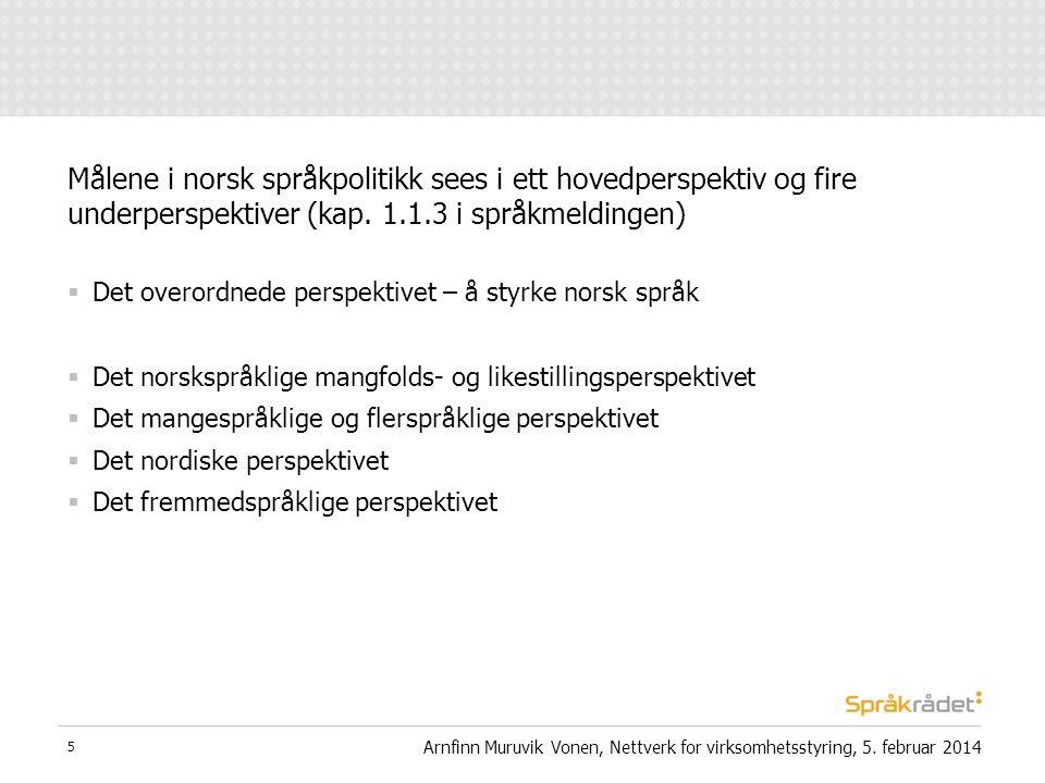  Det overordnede perspektivet – å styrke norsk språk  Det norskspråklige mangfolds- og likestillingsperspektivet  Det mangespråklige og flerspråkli