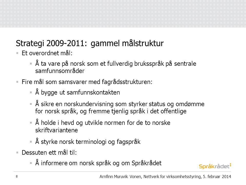  Et overordnet mål:  Å ta vare på norsk som et fullverdig bruksspråk på sentrale samfunnsområder  Fire mål som samsvarer med fagrådsstrukturen:  Å