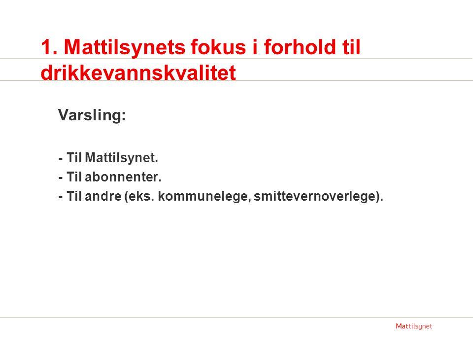 1.Mattilsynets fokus i forhold til drikkevannskvalitet Varsling: - Til Mattilsynet.