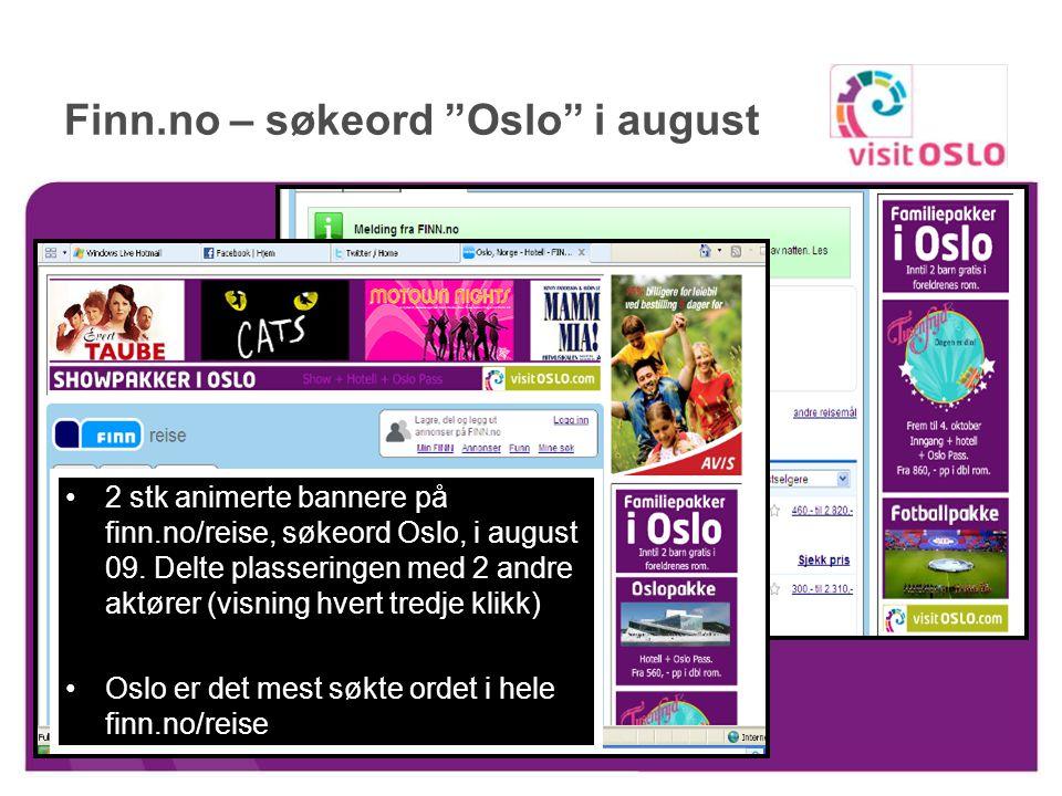 Online annonsering 2010 Tre formater enkel, dobbel og skyskraper –Uten animasjon og flash Annonseweb http://www.visitoslo.com/no/?cat=83913 http://www.visitoslo.com/no/?cat=83913 Aksjonærrabatt Hotelløsninger http://www.visitoslo.com/no/hotellbooking.49102.no.html http://www.visitoslo.com/no/hotellbooking.49102.no.html