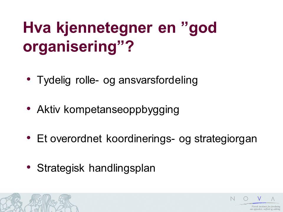 """Hva kjennetegner en """"god organisering""""? Tydelig rolle- og ansvarsfordeling Aktiv kompetanseoppbygging Et overordnet koordinerings- og strategiorgan St"""
