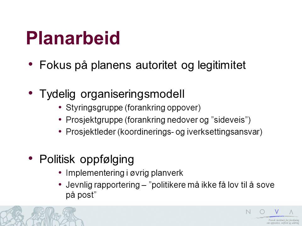 Planarbeid Fokus på planens autoritet og legitimitet Tydelig organiseringsmodell Styringsgruppe (forankring oppover) Prosjektgruppe (forankring nedove