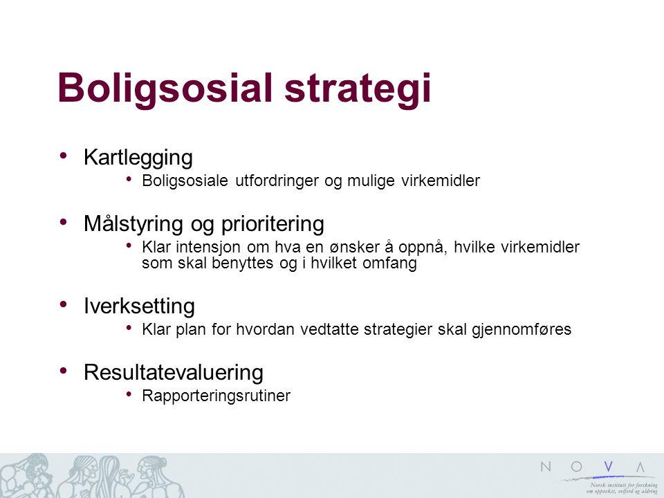 Boligsosial strategi Kartlegging Boligsosiale utfordringer og mulige virkemidler Målstyring og prioritering Klar intensjon om hva en ønsker å oppnå, h