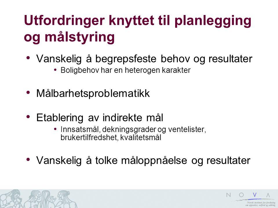 Utfordringer knyttet til planlegging og målstyring Vanskelig å begrepsfeste behov og resultater Boligbehov har en heterogen karakter Målbarhetsproblem