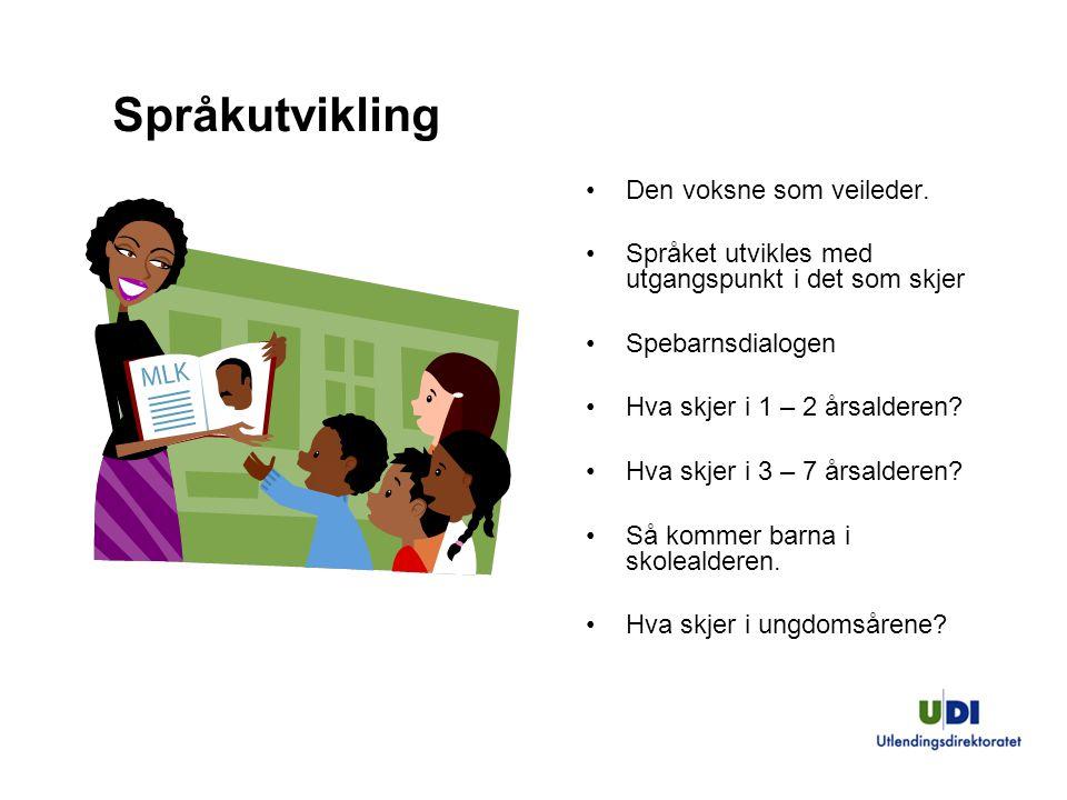 11 Språkutvikling Den voksne som veileder. Språket utvikles med utgangspunkt i det som skjer Spebarnsdialogen Hva skjer i 1 – 2 årsalderen? Hva skjer