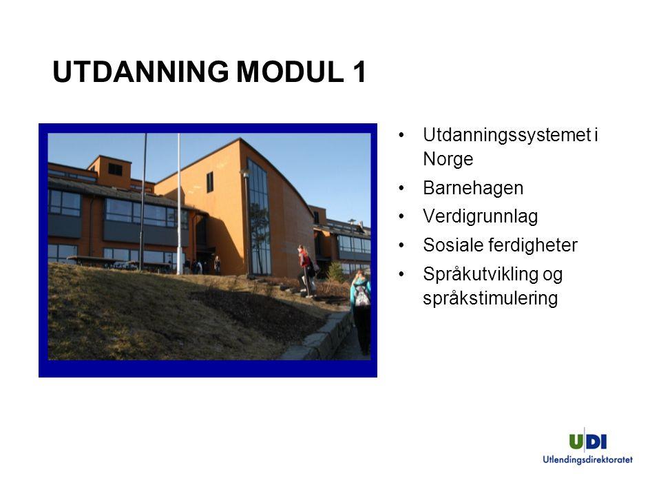 UTDANNING MODUL 1 Utdanningssystemet i Norge Barnehagen Verdigrunnlag Sosiale ferdigheter Språkutvikling og språkstimulering