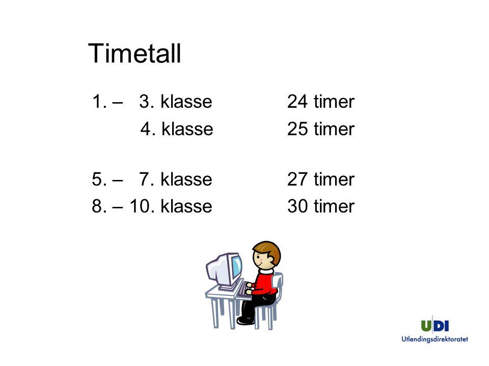 Timetall 1. – 3. klasse24 timer 4. klasse25 timer 5. – 7. klasse27 timer 8. – 10. klasse30 timer