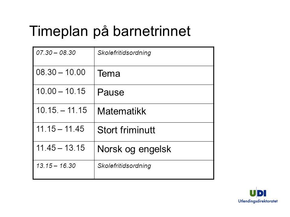 Timeplan på barnetrinnet 07.30 – 08.30Skolefritidsordning 08.30 – 10.00 Tema 10.00 – 10.15 Pause 10.15.