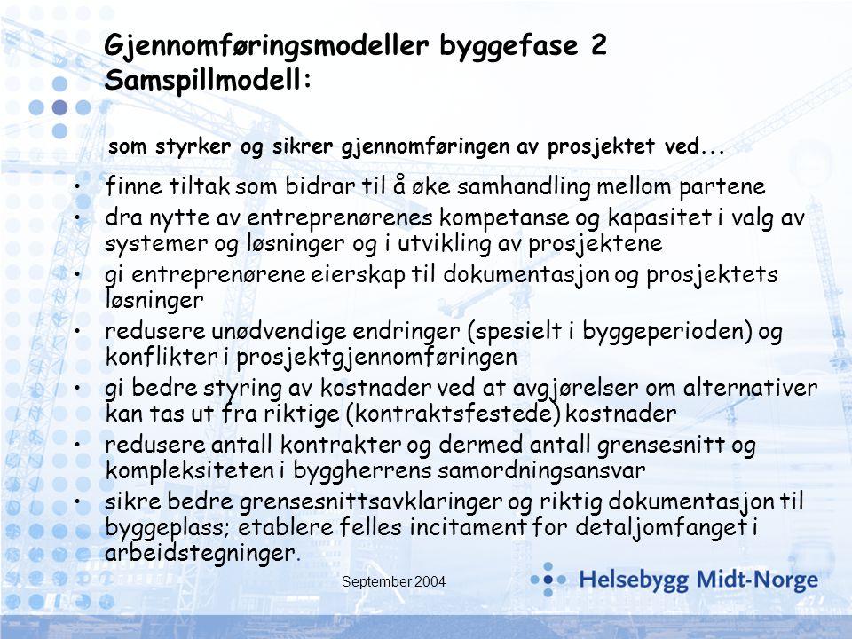 September 2004 finne tiltak som bidrar til å øke samhandling mellom partene dra nytte av entreprenørenes kompetanse og kapasitet i valg av systemer og